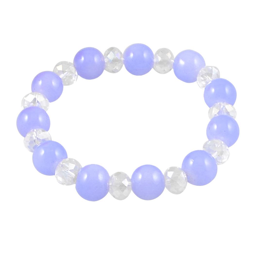 Lady Woman Glitter Light Purple Synthetic Beads Bracelet Bangle Chain Ornament