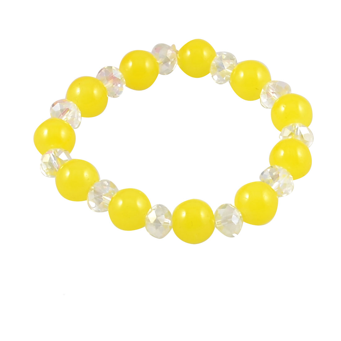 Lady Woman Glittery Yellow Round 10mm Diameter Bead Wrist String Bracelet Chain
