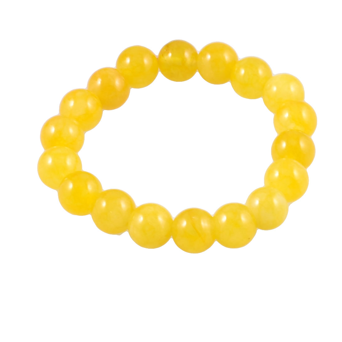 Lemon Yellow Glittery 10mm Diameter Beads Elastic String Bracelet Hand Chain for Lady Woman
