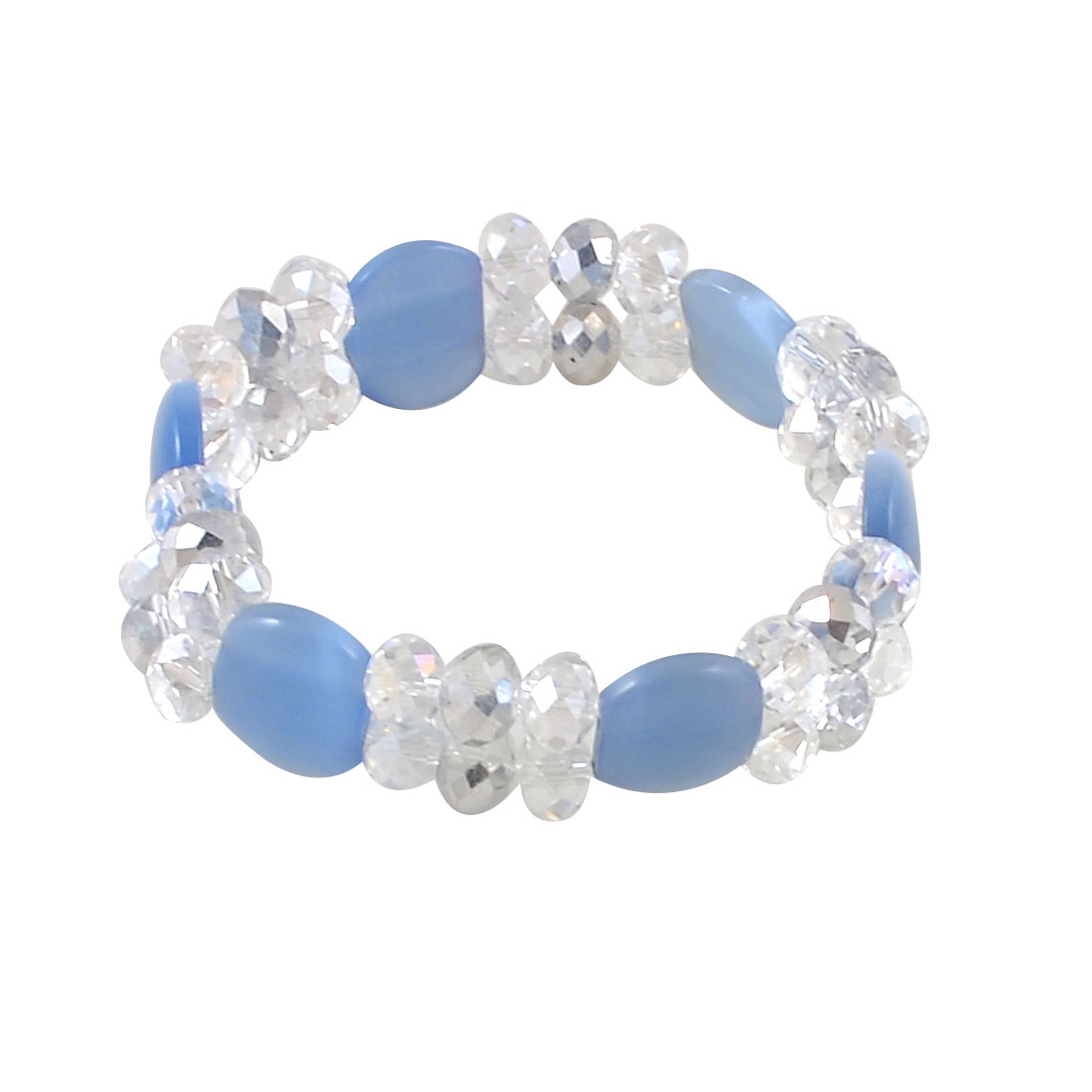 Elastic Light Blue Clear Beaded 2 Layers Crystal Beads Wrist Bracelet for Girl