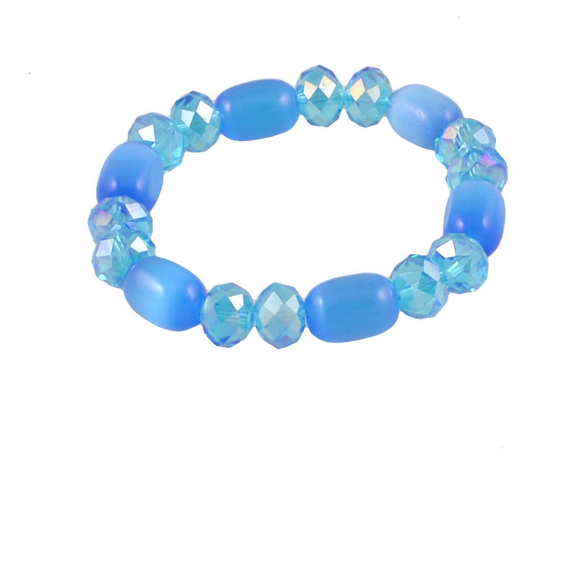 Clear Blue Glitter Faceted Beads Stretchy Bracelets Bangle for Woman