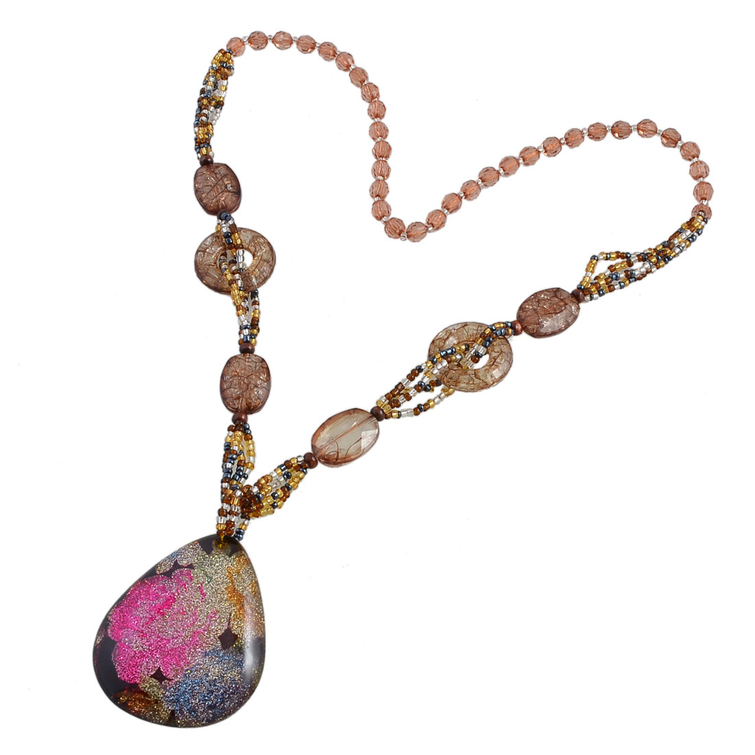 Lady Plastic Cracked Beads Multicolor Glittery Powder Raindrop Pendant Sweater Necklace