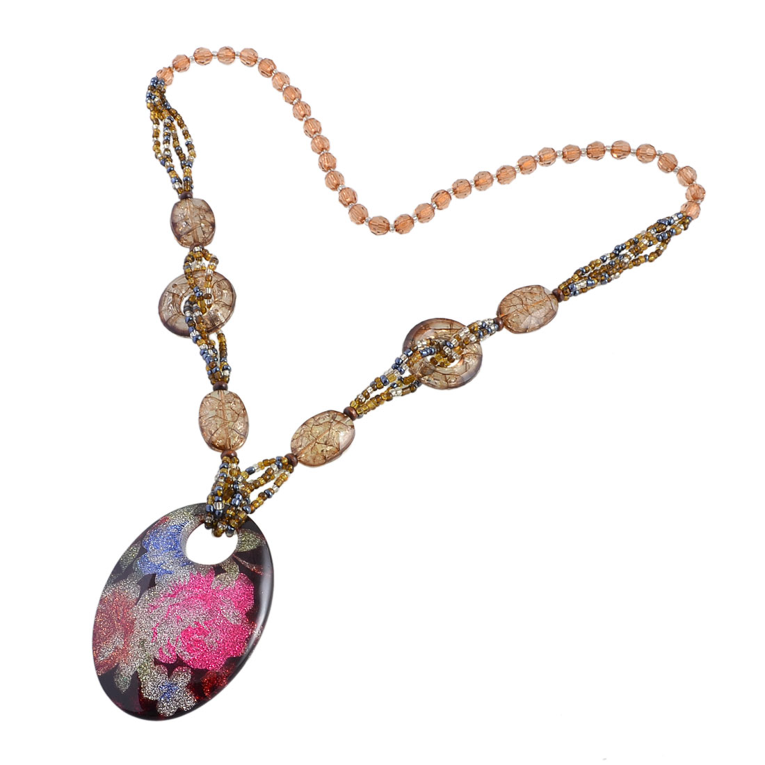 Faceted Beads Colorful Glittery Powder Oval Pendant Sweater Necklace for Lady