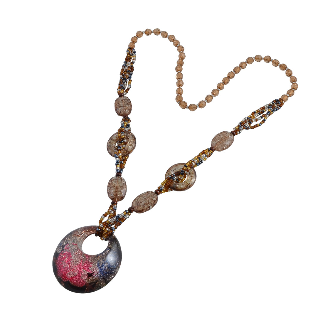 Faceted Beads Colorful Glittery Powder Round Pendant Sweater Necklace for Lady
