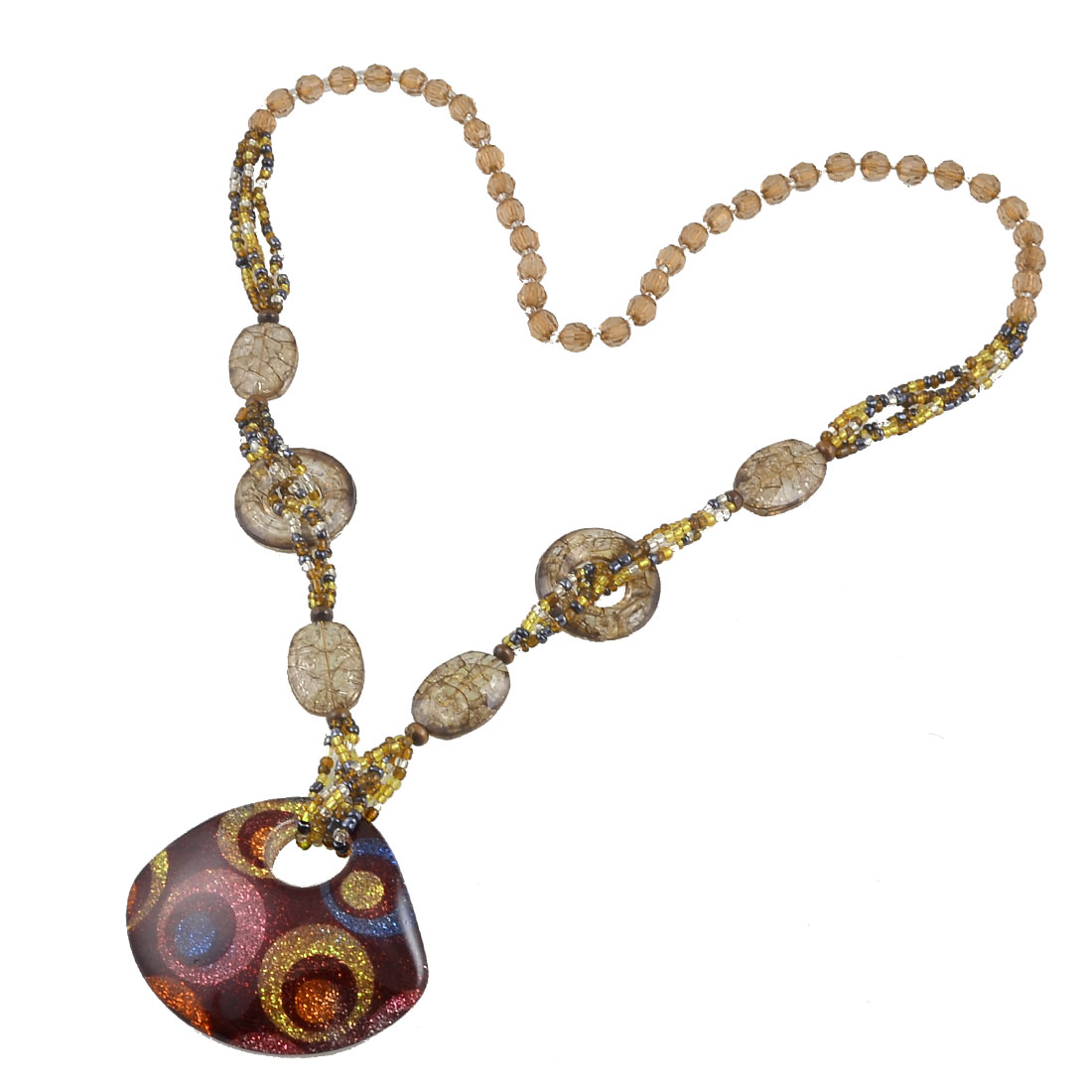 Faceted Beads Colorful Glittery Powder Circle Pattern Pendant Sweater Necklace for Lady