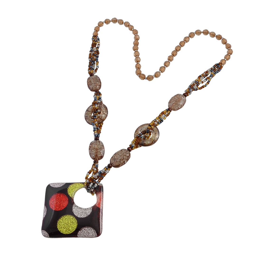 Ladies Colored Plastic Glittery Powder Circle Pattern Square Pendant Beaded Sweater Necklace