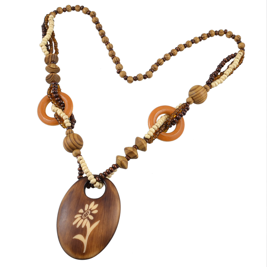 Brown Wooden Floral Pattern Oval Pendant Colored Beaded Sweater Necklace