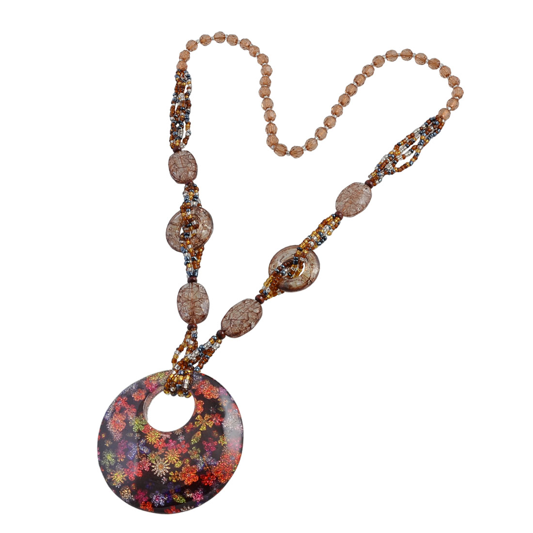 Women Colorful Glitter Powder Flowers Round Pendant Brown Crystal Beads Sweater Necklace