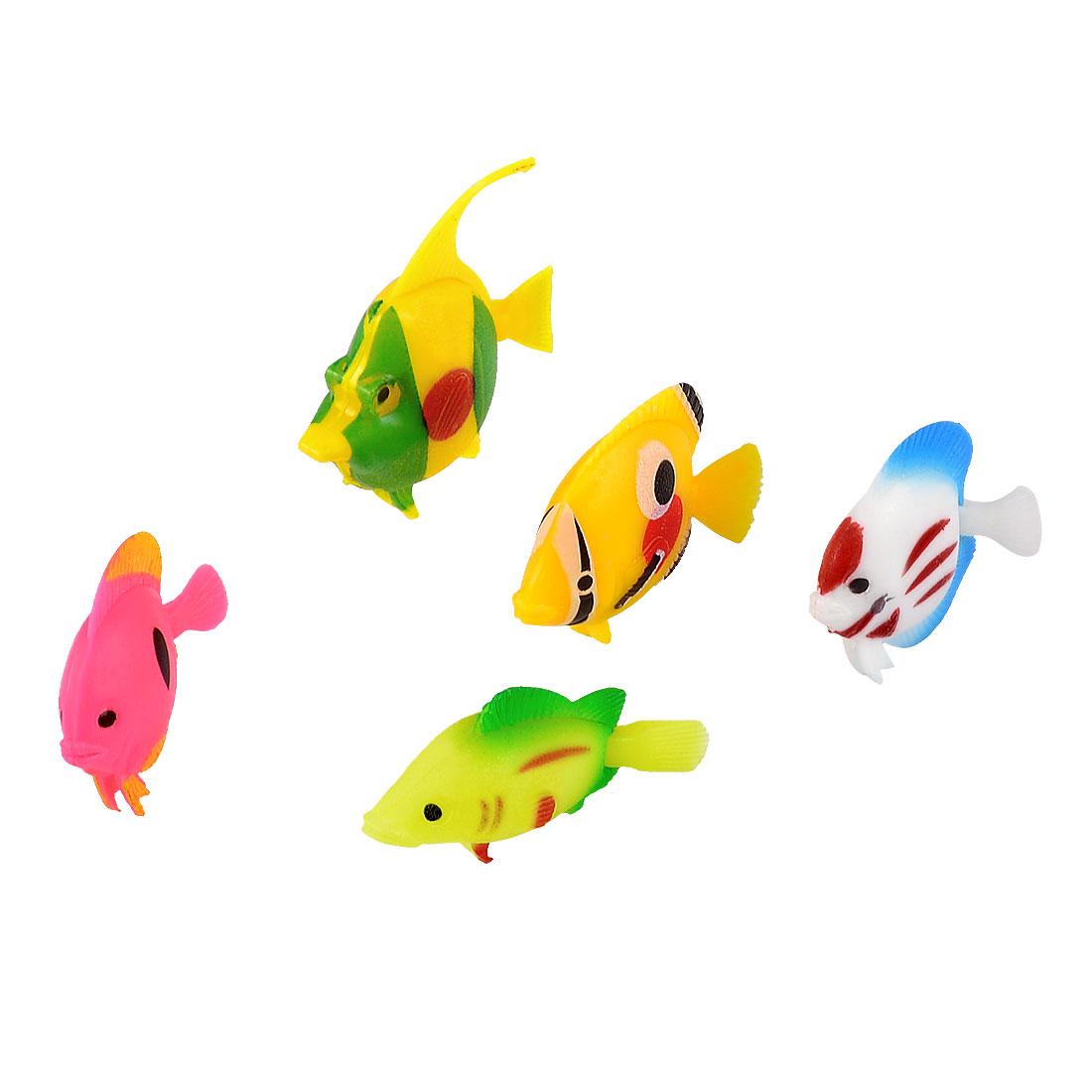 Aquarium Swing Tail Colorful Plastic Tropical Fish Ornament 5 Pcs