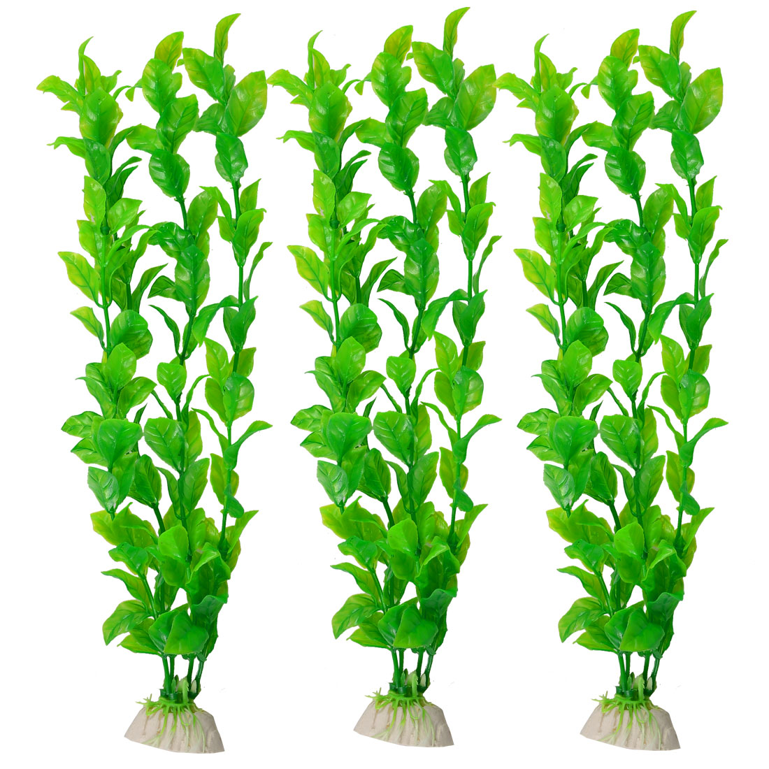 3 Pcs Green Plastic Plant Aquascaping 32cm High for Aquarium Tank