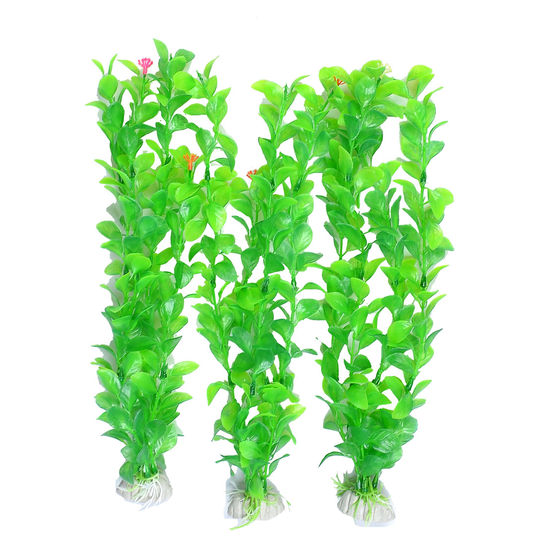 "3 Pcs Green Red Flower Plastic Plant Aquascaping 12.5"" High for Aquarium Tank"