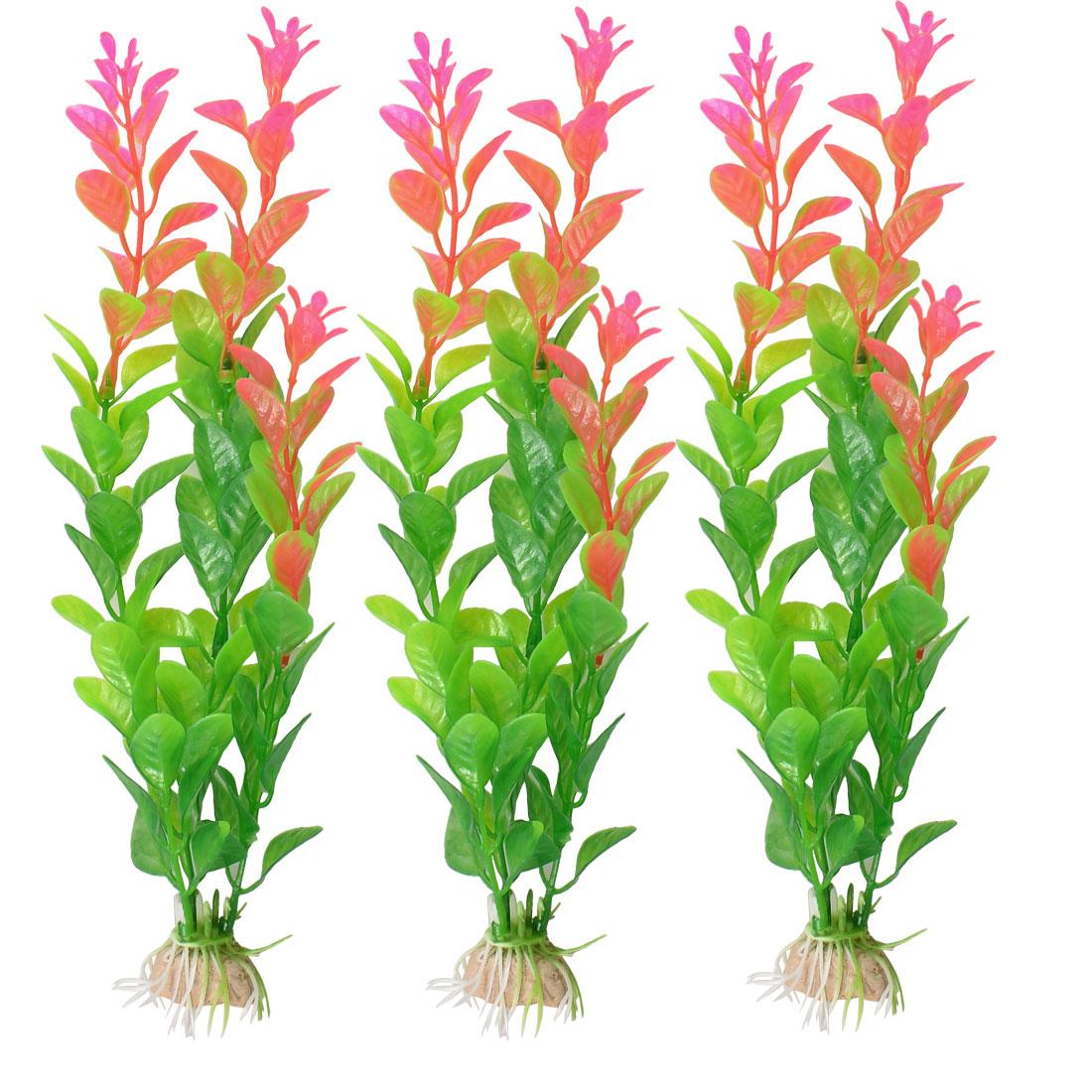 "3 Pcs 10"" Green Pink Plastic Plants Fish Tank Decoration"