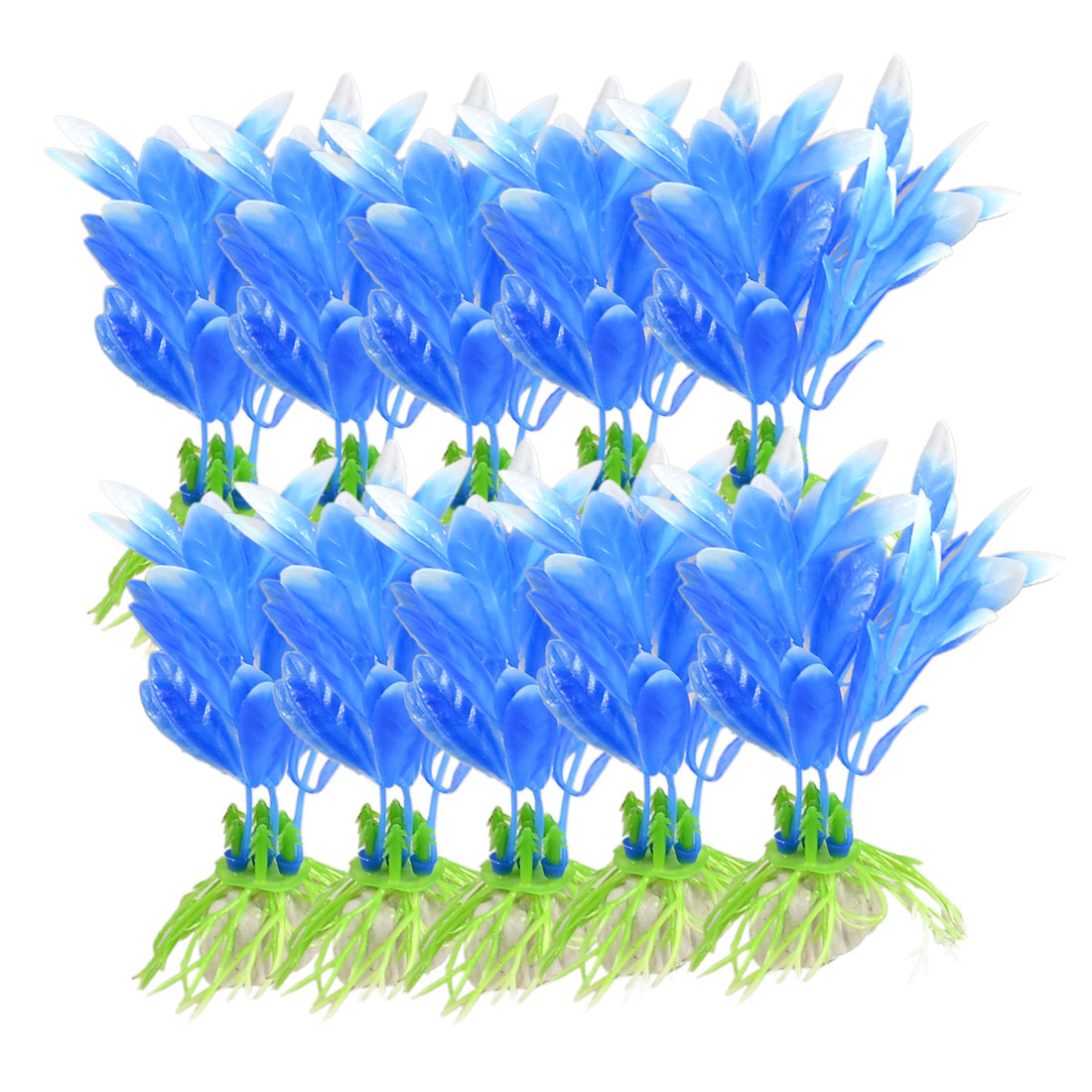 "10 Pcs Ceramic Base White Blue Plastic Grass Decoration 3.5"" for Fish Tank"