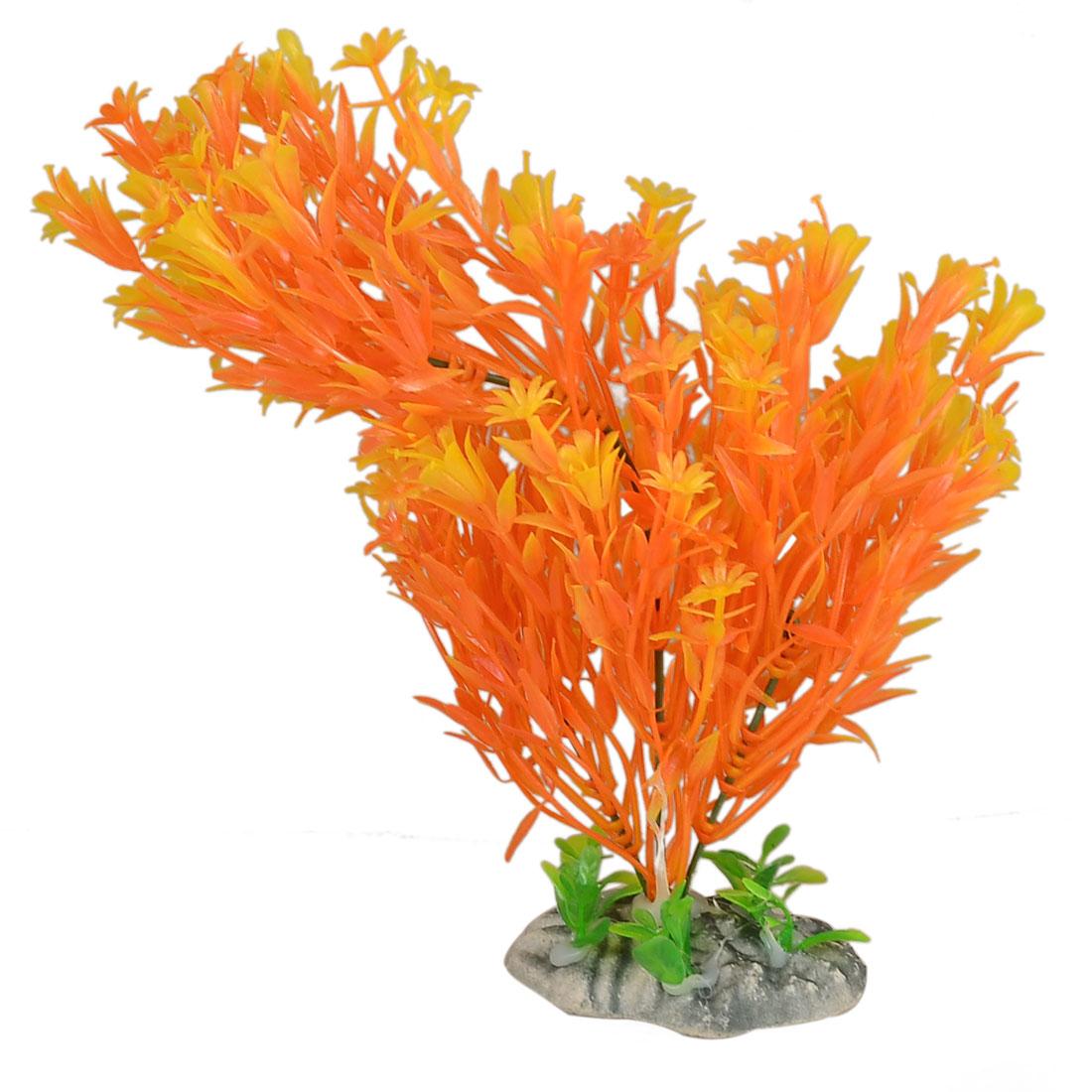 Aquarium Ceramic Base Yellow Orange Plastic Manmade Grass Plant Decor