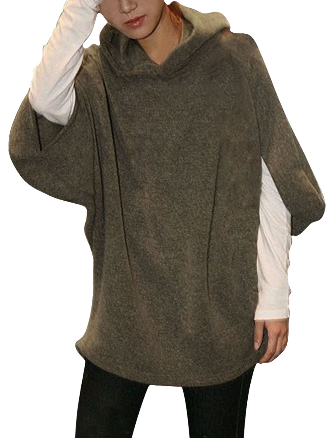 Ladies Coffee Color Loose Hoodie Stretchy Half Batwing Sleeve Casual Knit Top L