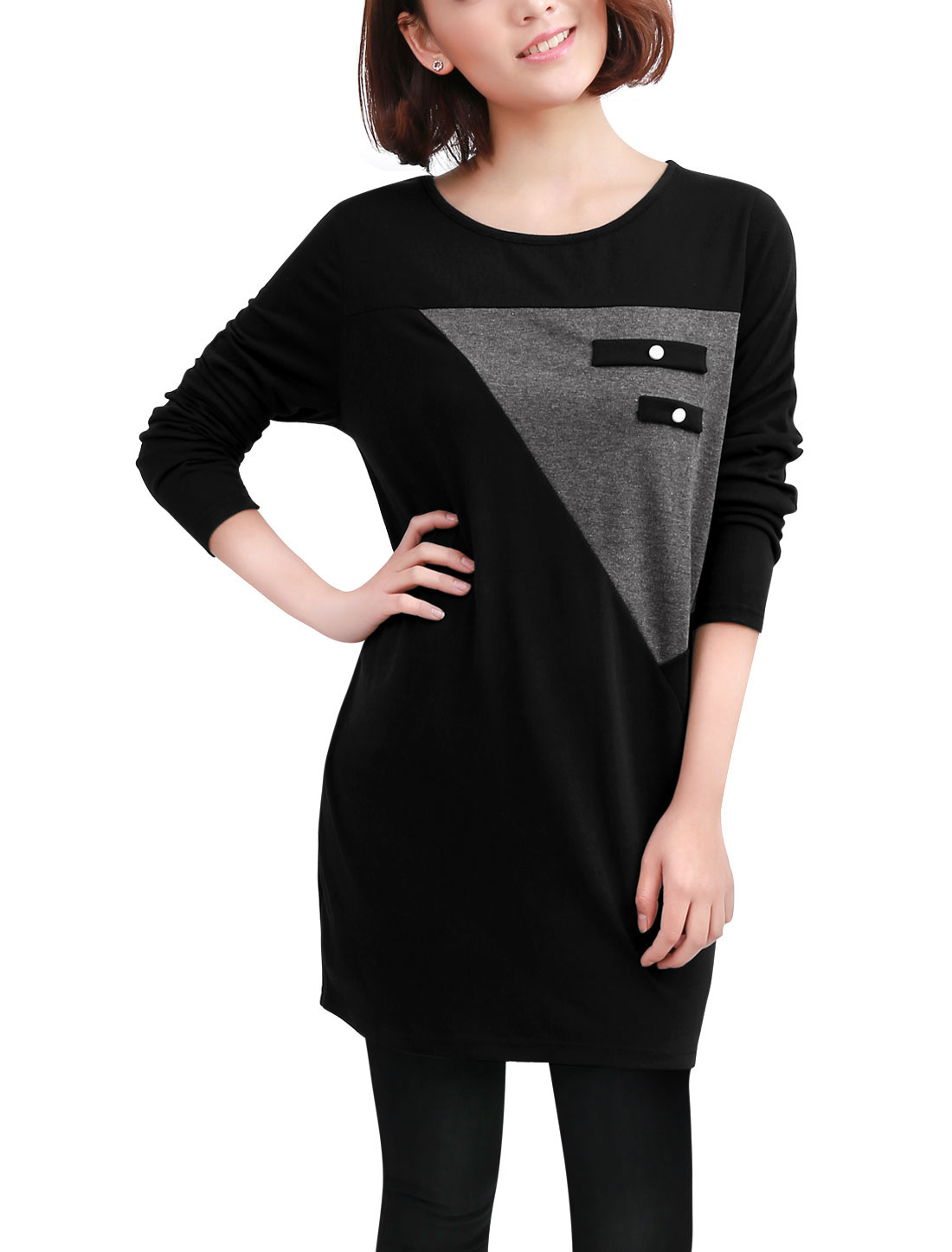 Lady Black Long Sleeve Buttons Decor Front Pullover Design Loose Tunic Shirt M
