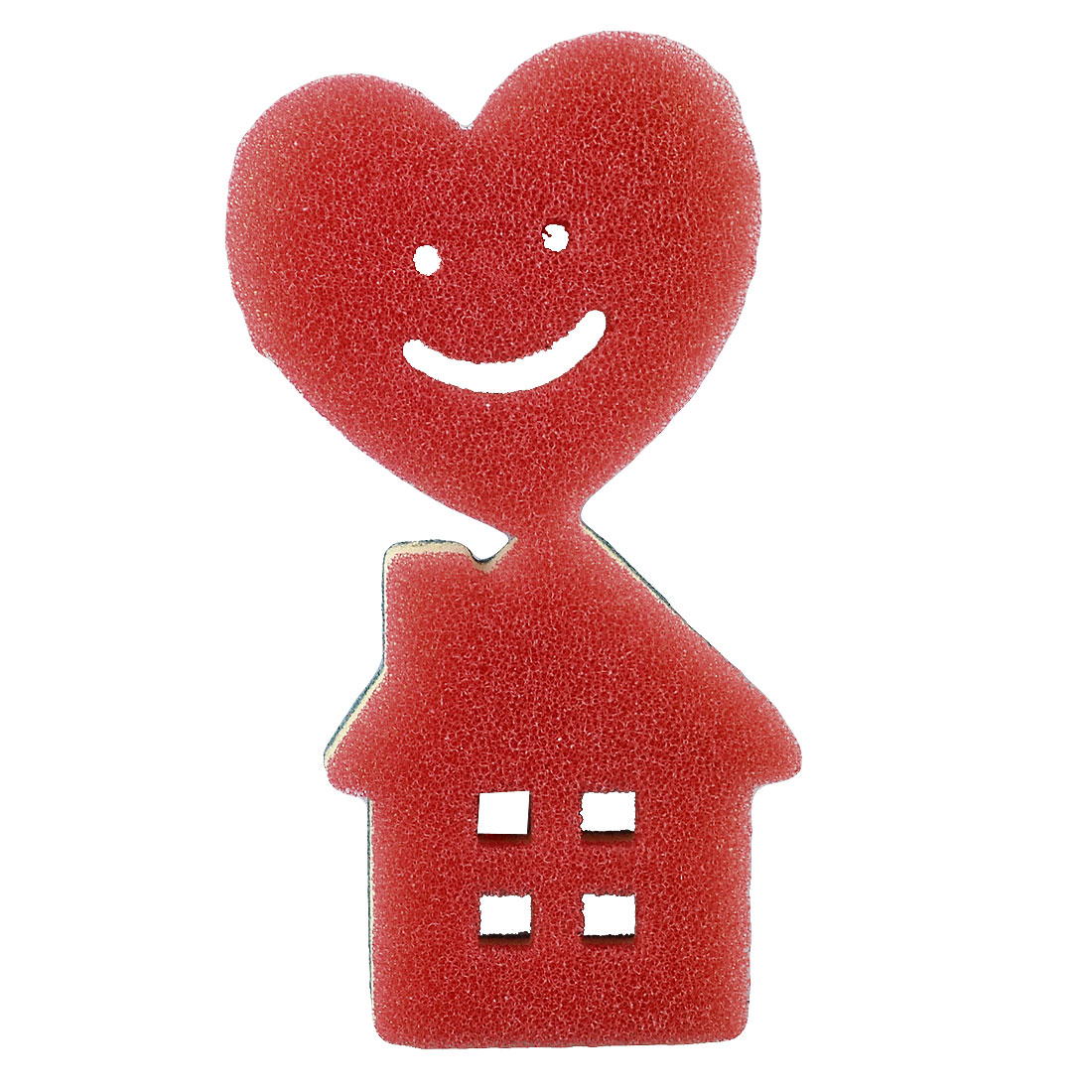 Kitchen Cartoon Heart House Design Tri Colors Dish Cleaning Sponge Scouring Pad