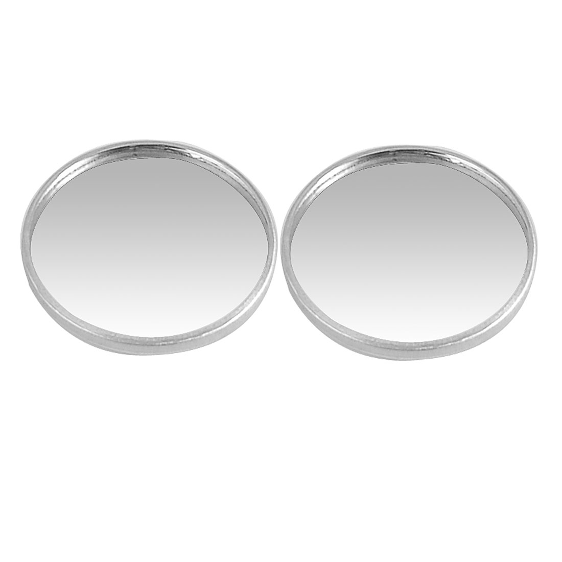 2 Pcs Silver Tone 40mm Round Side Rear View Blind Spot Mirrors