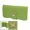Women Lychee Pattern Foldable Green Faux Leather Wallet Purse Bag Card Case