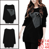 Women Black Scoop Neck Design Decorative Pockets Casual Tunic Shirt L
