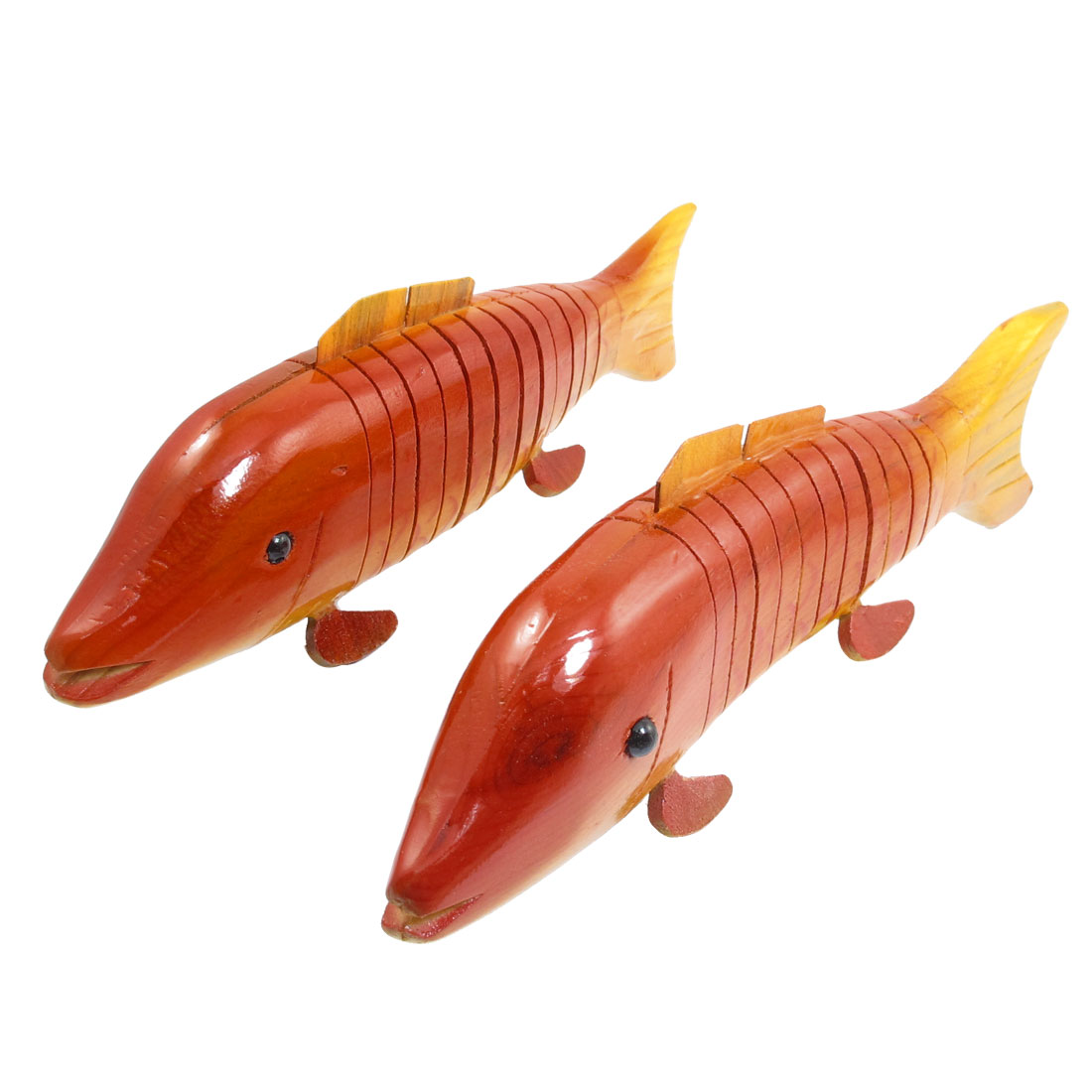 2 Pcs Simulated Flexible Body Wood Wooden Carp Fish Toy for Children