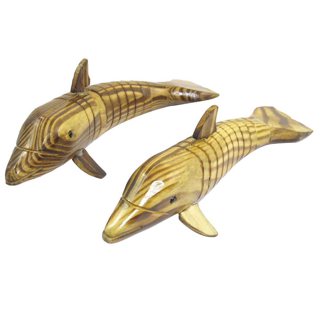 2 Pcs Simulated Flexible Body Wood Wooden Dolphin Toy for Children