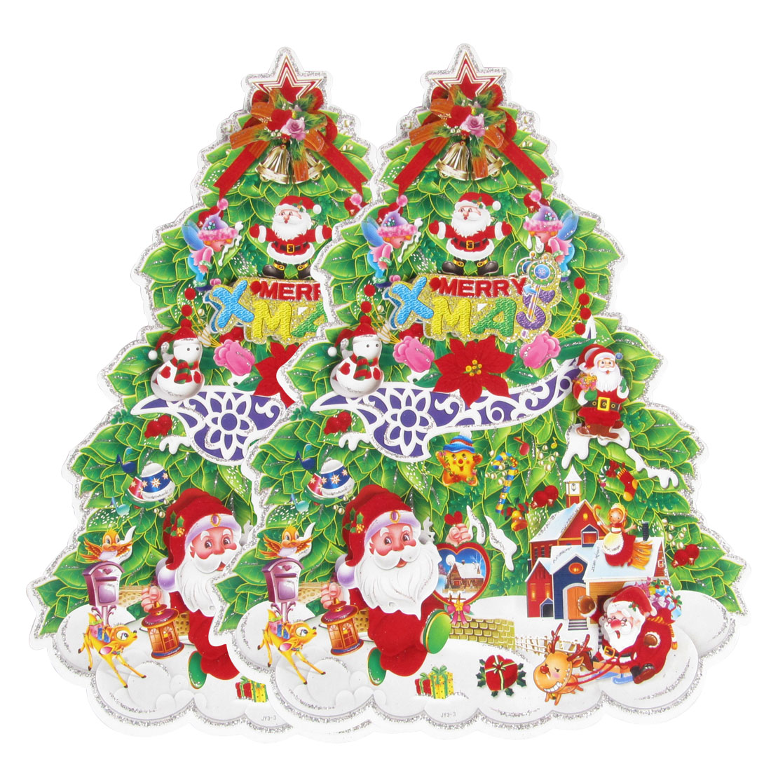 2 Pcs Santa Claus Snowman Decor Christmas Tree Design Wall Decals 400mm x 525mm