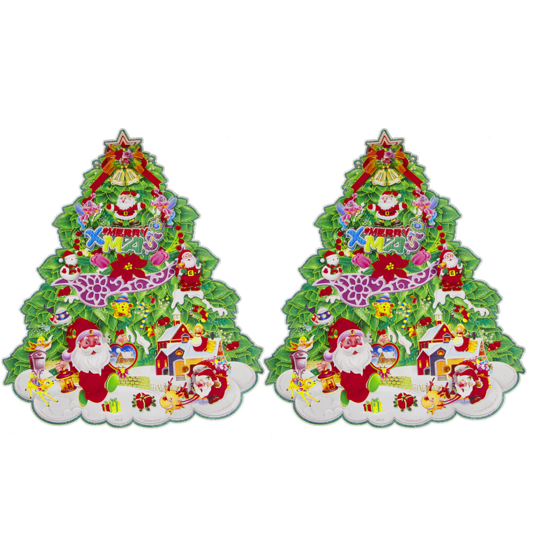 2 Pcs Santa Claus Snowman Decor Christmas Tree Design Wall Decals 295mm x 360mm