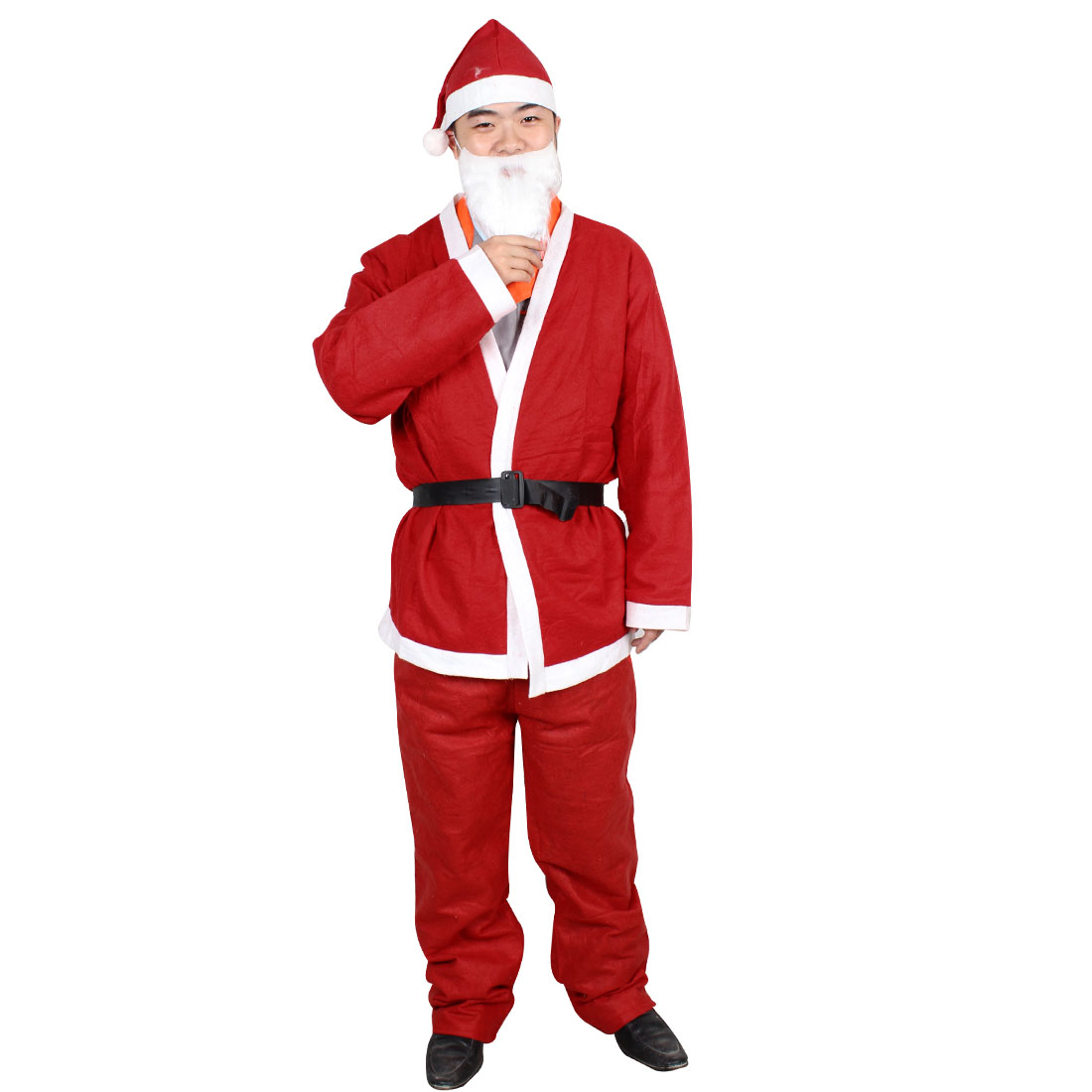 Mens True Red White Santa Claus Suit Christmas Outfit Costume w Hat Beard