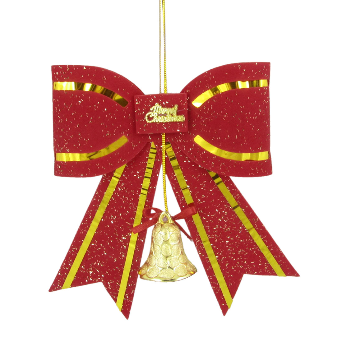 Red Gold Tone Bowknot Decor Hanging Ornament Gift for Christmas Tree