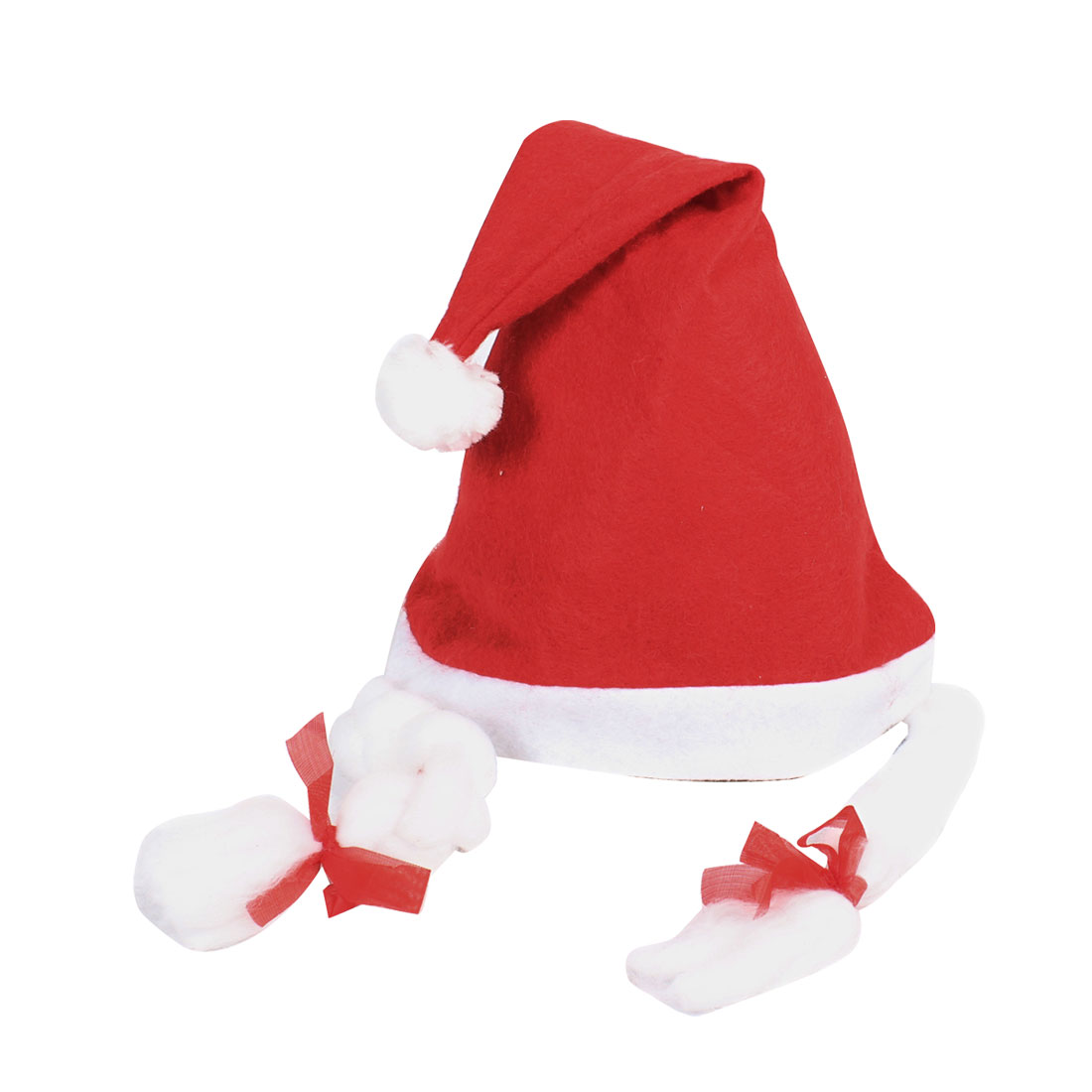 Girls True Red White Christmas Xmas Santa Claus Hat w Pigtail