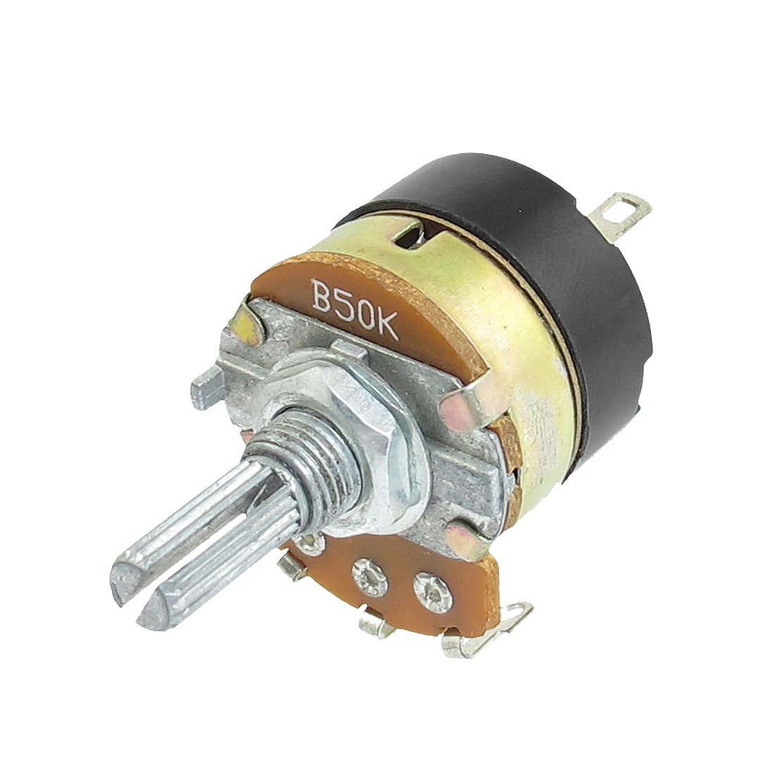 50K ohm B50K 3 Terminals Single Turn Rotary Taper Carbon Potentiometer