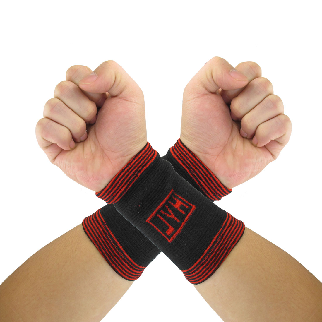 Pair Protective Black Red Pinstripe Stretchy Wrist Support Brace