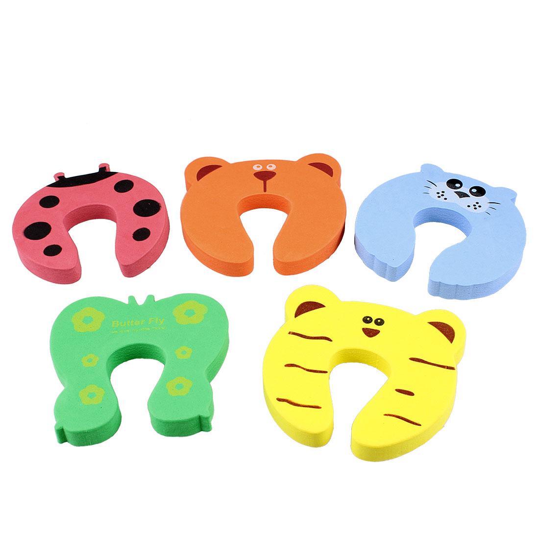 5 Pcs Finger Pinch Cartoon Animal Foam Door Stopper Cushion