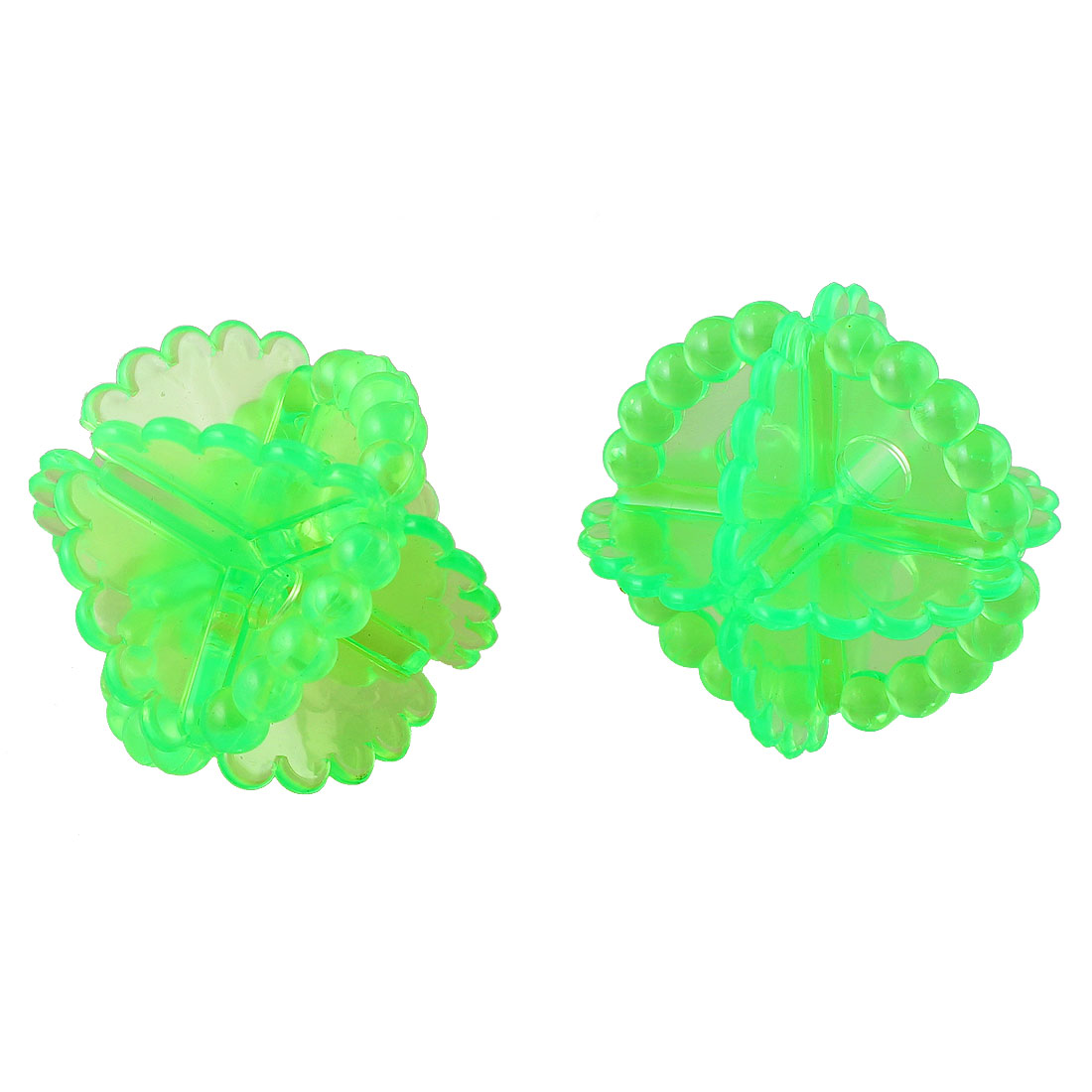 "2"" Diameter Clear Green Soft Plastic Octahedral Laundry Washing Ball 2 Pcs"