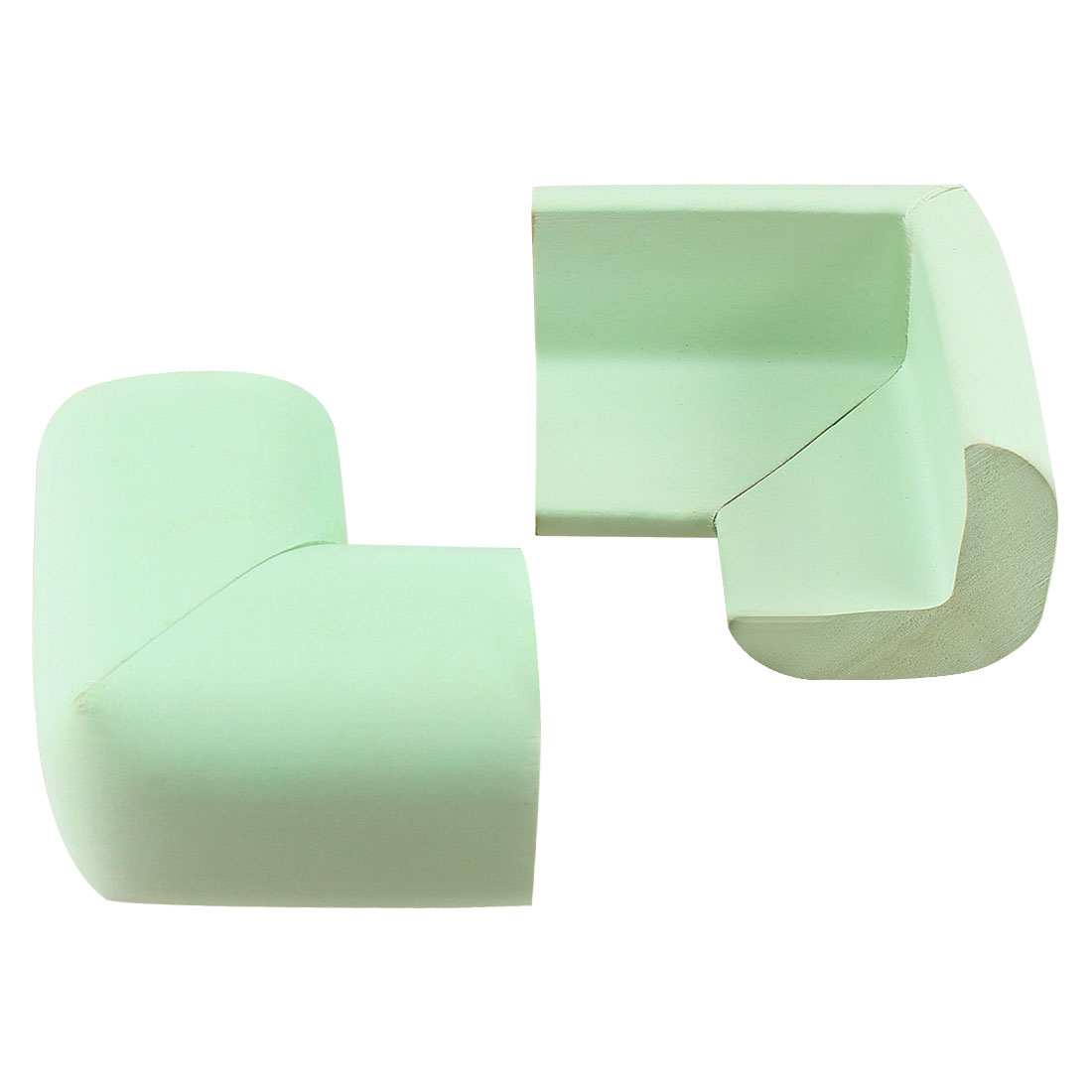 Light Green Foam Table Desk Cupboard Corner Mat Cover Guard Protector Cushion 2 Pcs