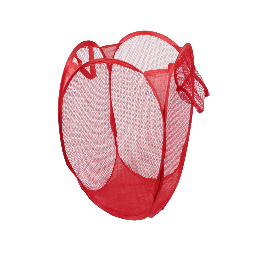 Hand Straps Meshy Foldable Tidy Clothes Storage Laundry Basket Red