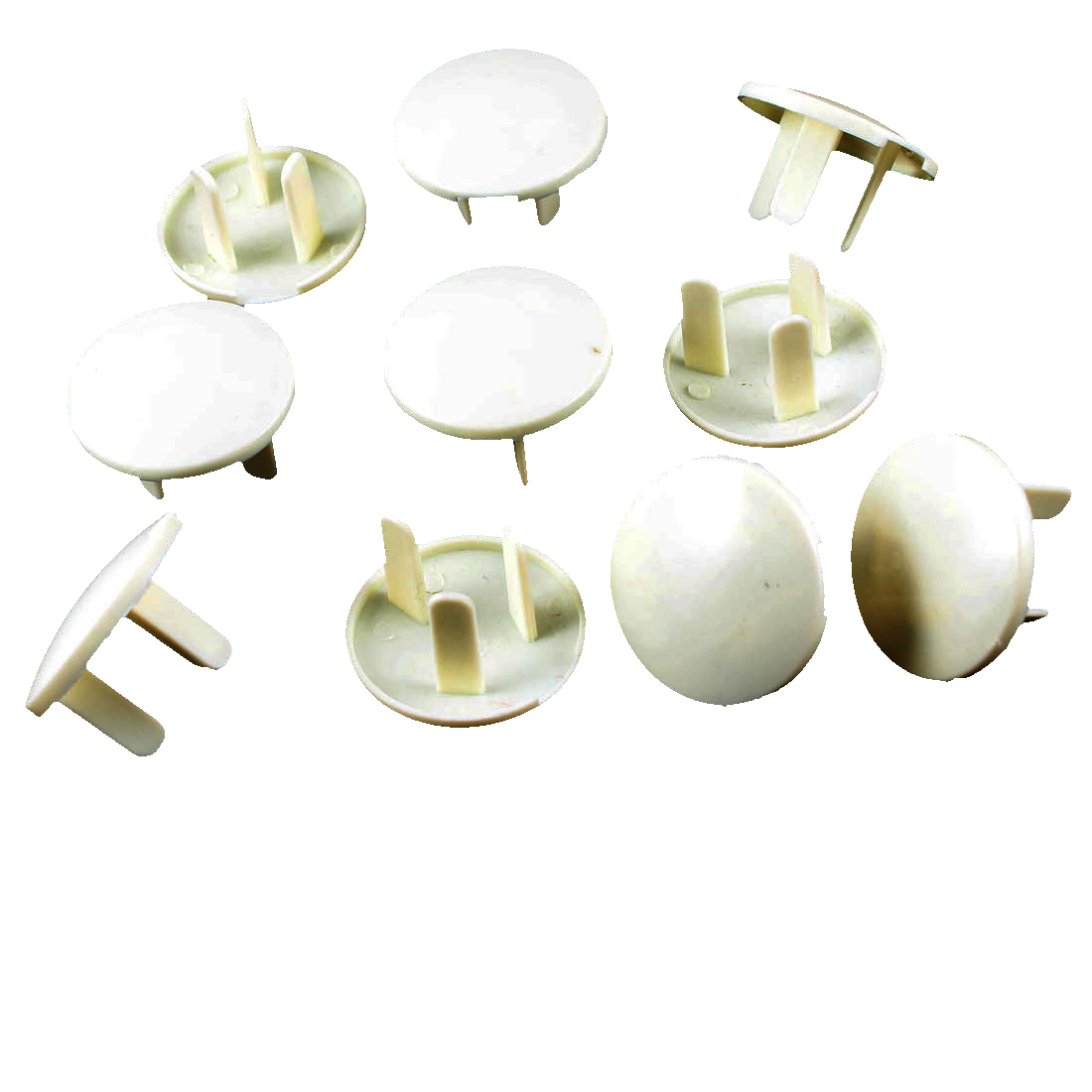 10 Pcs Beige Plastic Baby 3 Flat Pin Electrical Safety Security Socket Cover