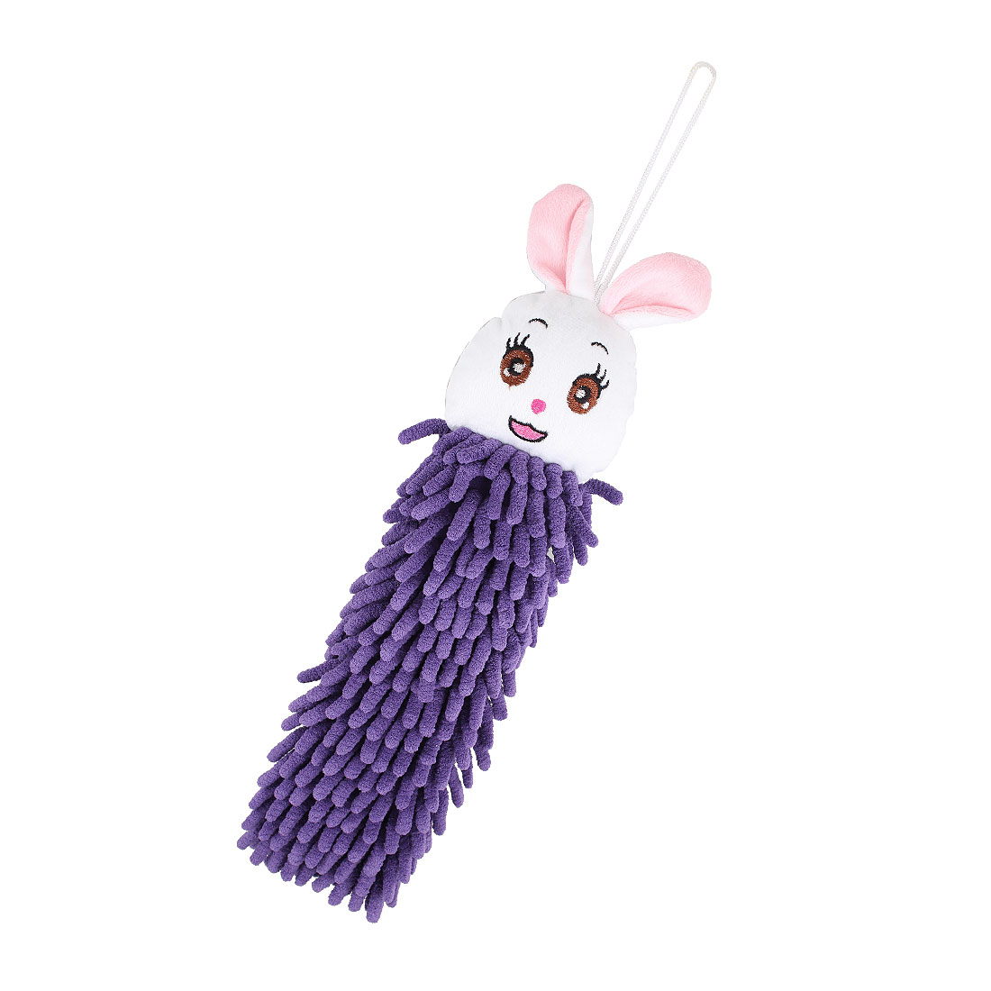 Pink White Rabbit Shape Wall Hanging Dry Cleaning Hand Towel Washcloth Purple