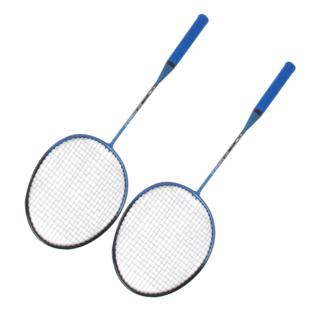 Pair Badminton Rackets Racquets Free String Grip Blue Black w Carrying Case