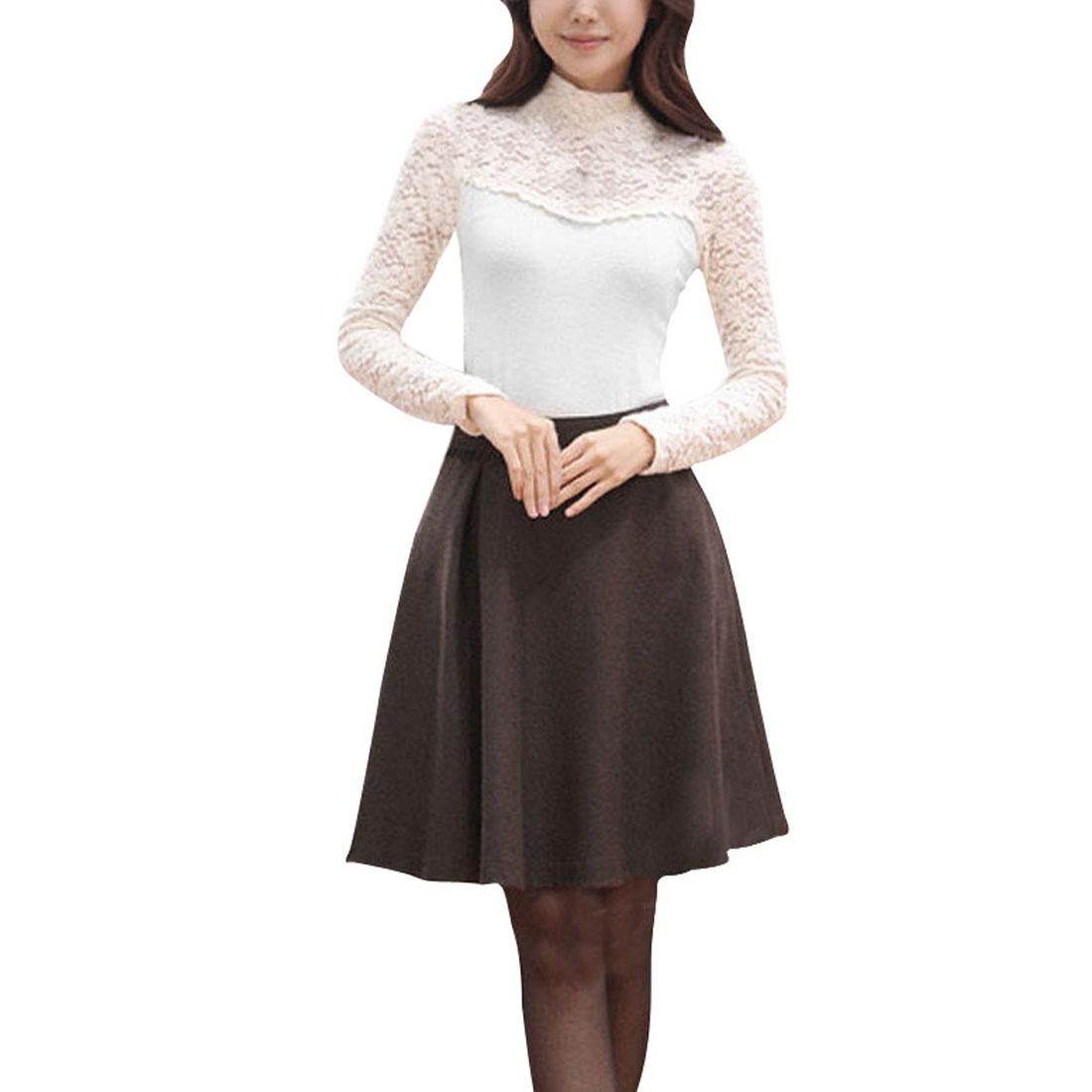 Ladies White Turtle Neck Pullover Stylish Lace Panel Shirt XS