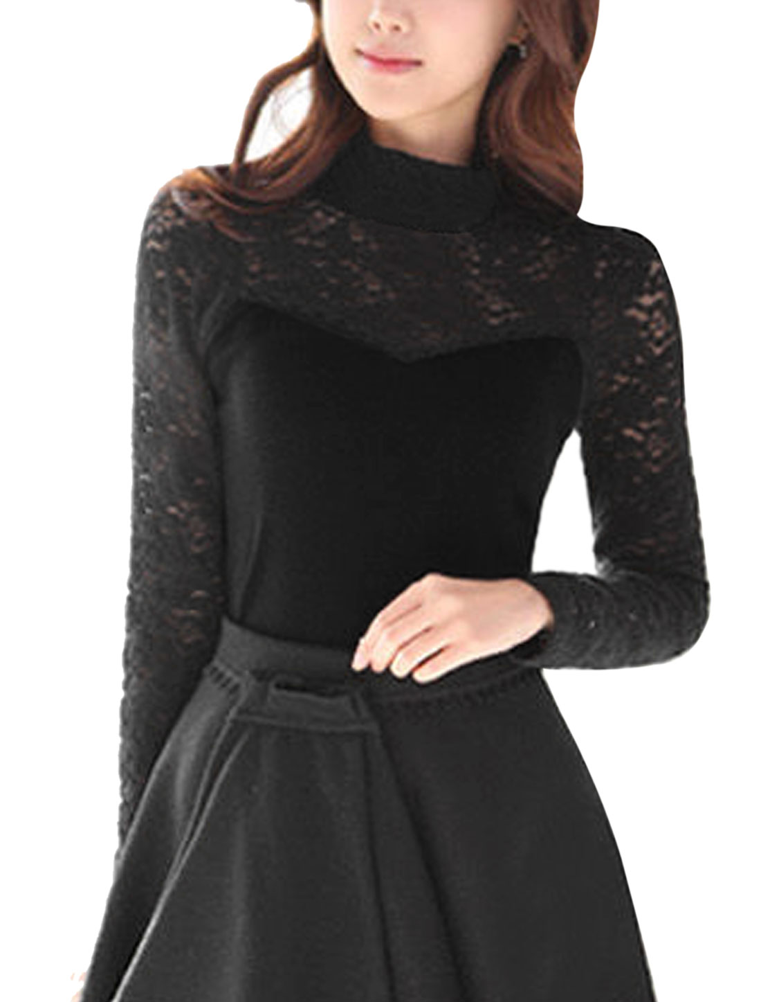 Ladies Black Cropped Sleeves Stretchy Casual Autumn Tee Shirt XS