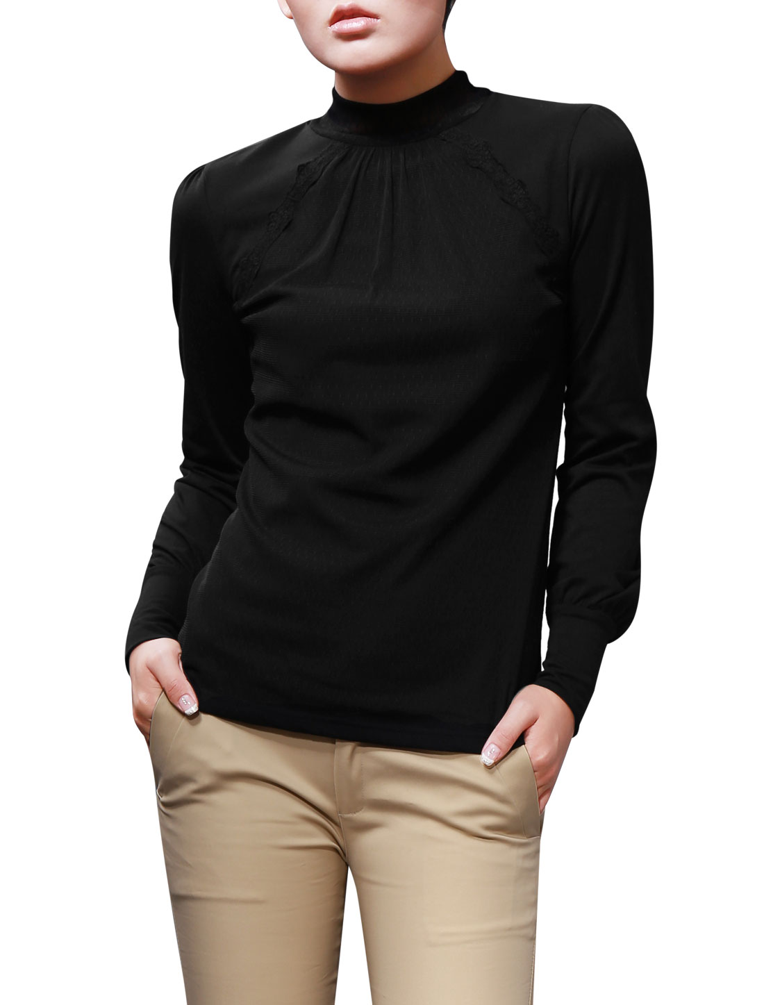 Lady Black Mesh Splice Design Solid Color Femimine Design Casual Top Shirt XS
