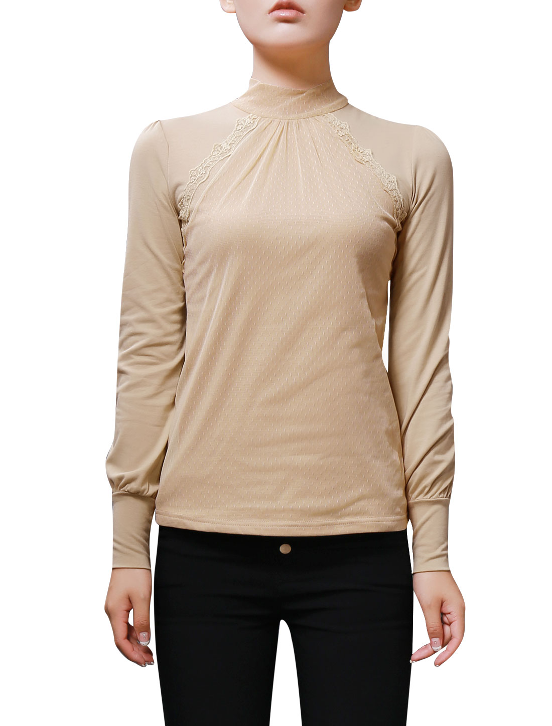 Ladies Beige Pullover Design Mesh Panel Front Bracelet Sleeve Slim Blouse XS