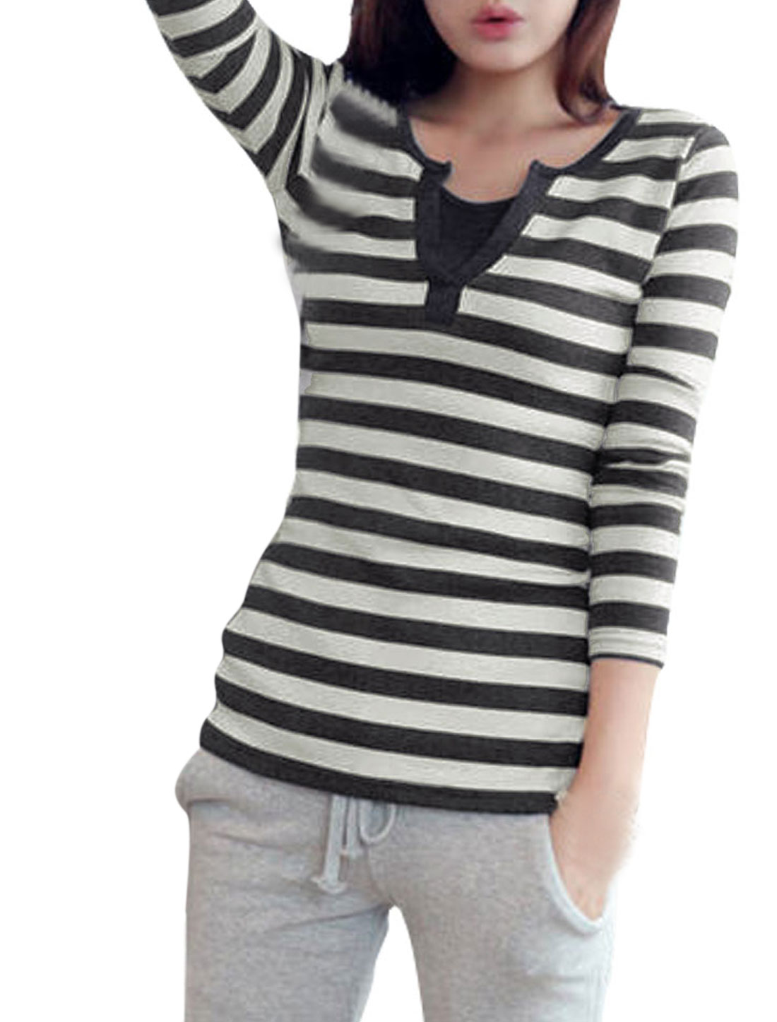 Ladies Dark Gray Light Gray Split Neck Horizontal Stripes Tee Shirt XS