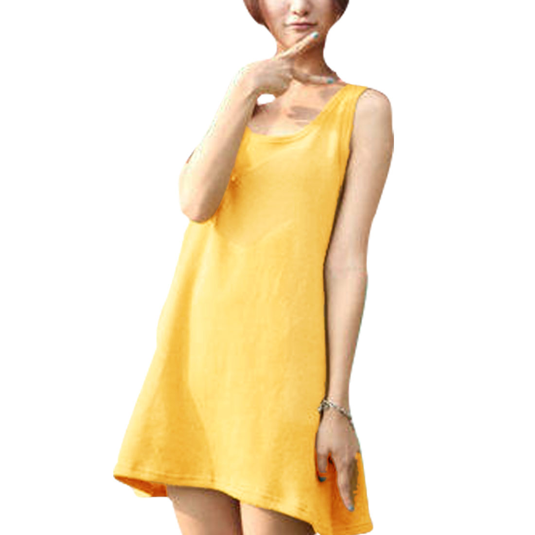 Ladies Yellow Sleeveless Pure Loose Casual Mini Dress XS