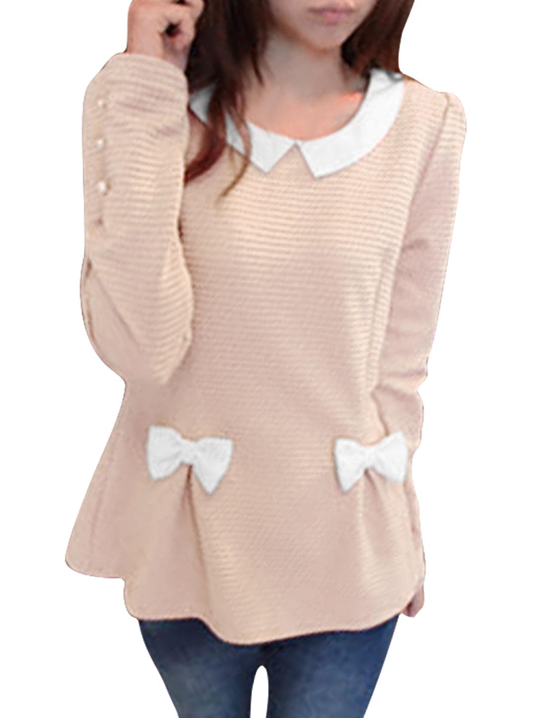 Women Long Sleeves Bowknot Decor Texture Light Pink Blouse Top XS