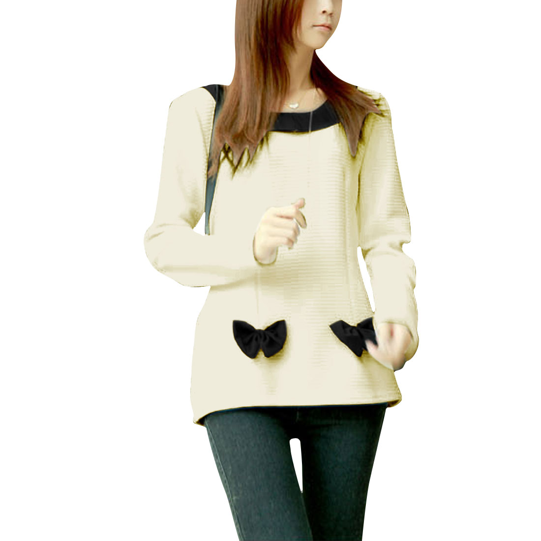 Ladies Round Neck Bowknot Decor Texuture Beige Black Shirt Top XS