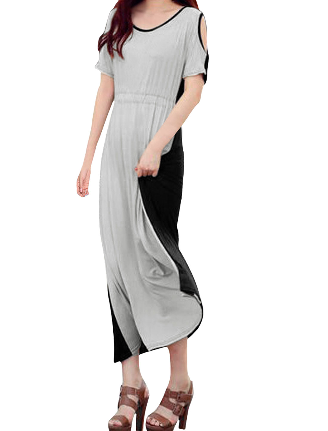 Ladies Light Gray Black Cut Out Sleeves Drawstring Waist Casual Pullover Dress S