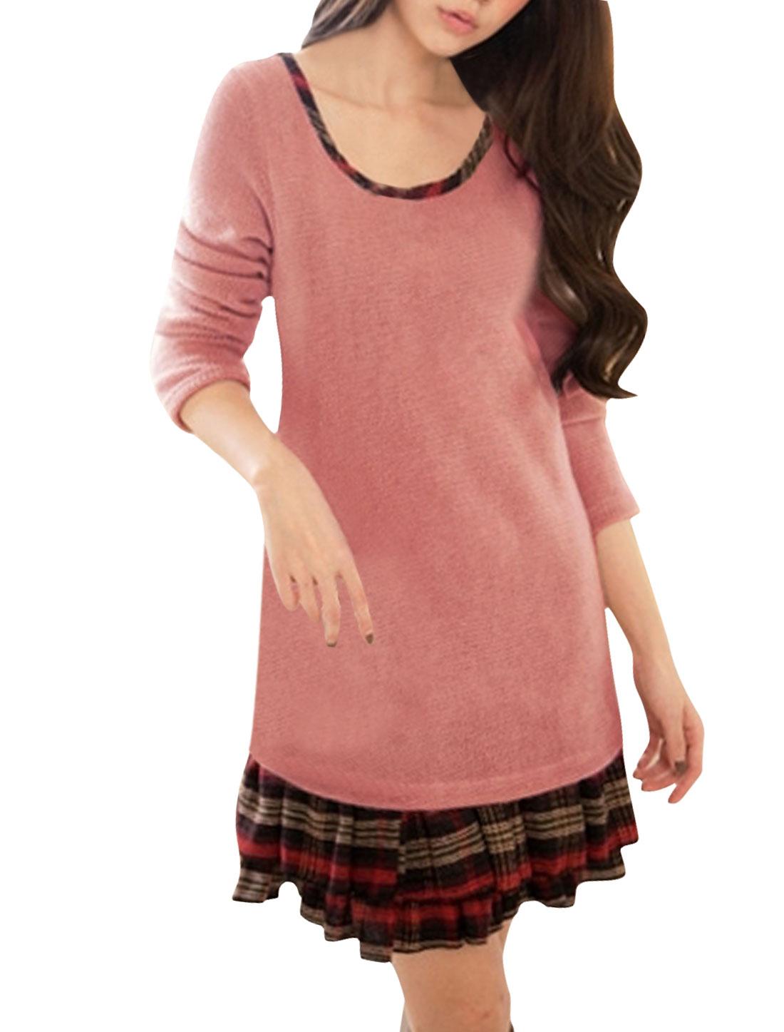 Women Long Sleeves Plaids Paneled Layered Mini Dress Pink XS